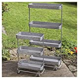 Whole House Worlds The Farmer's Market Utility Carts, Plant Growing Bin Racks, Set of 2, 3 and 4 Tiers, Galvanized Metal, Casters, Distressed Vintage Style, 32 3/4 and 53 1/2 Inches Tall, By
