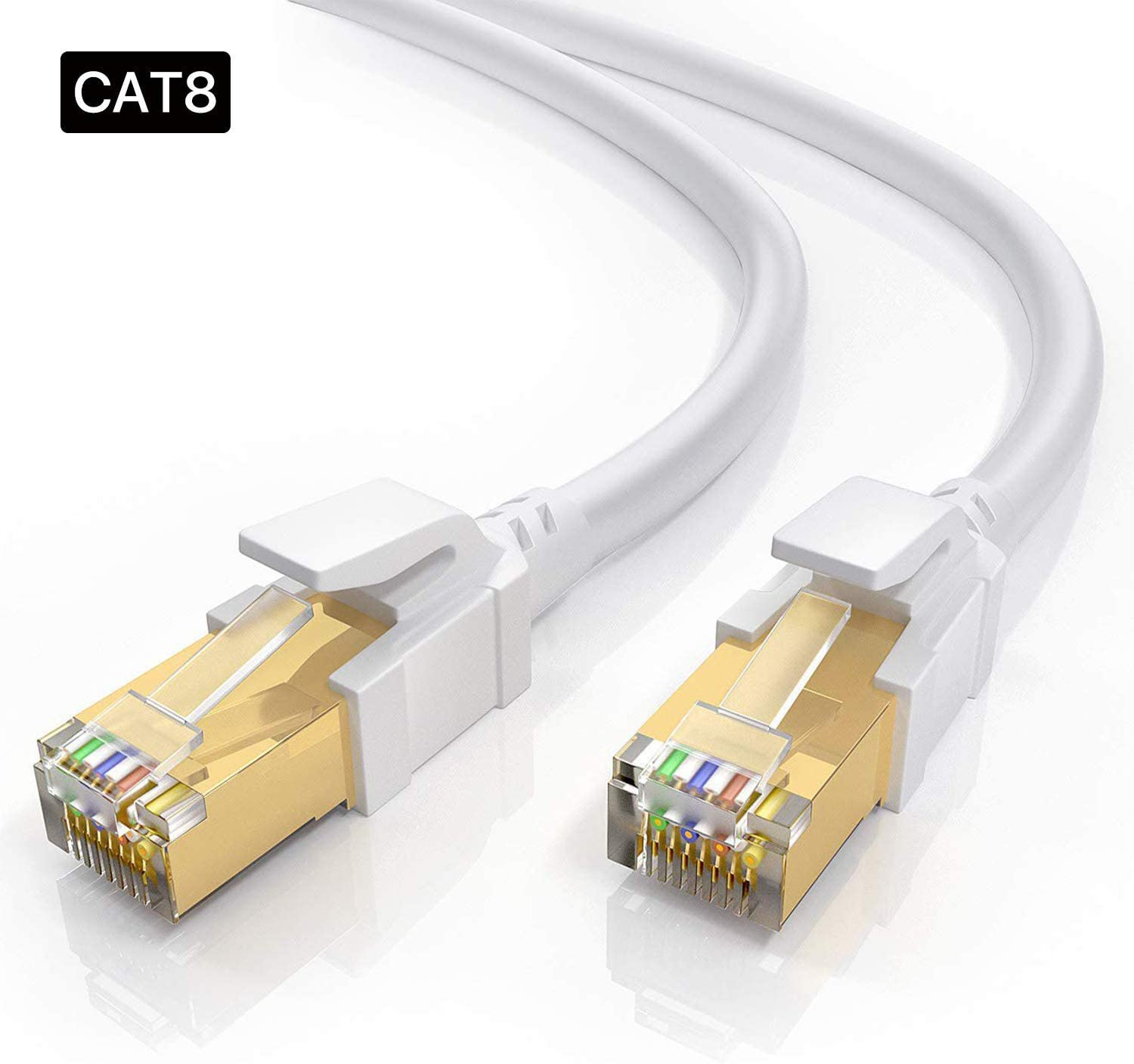 Laptop Gaming 26AWG Lastest 40Gbps 2000Mhz SFTP Patch Cord,with Gold Plated RJ45 Connector Comfortable with Router Modem Hub White 5FT 2Pack LoYinLo CAT8 Ethernet Cable PC
