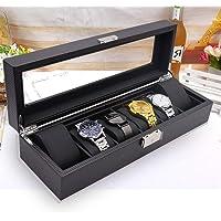 Wow_So_Nice Watch Box Men 6 Slots - Lockable Carbon Fiber Watch Display Case Storage Organizer Glass Top, Large Holder, Black