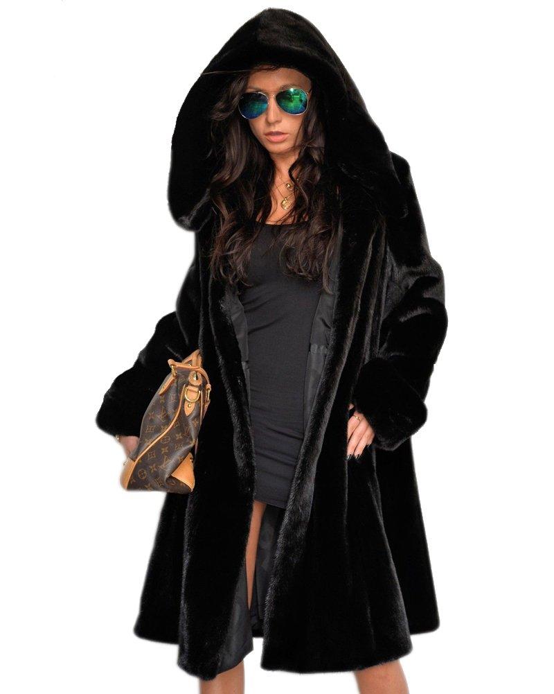 Aofur Womens Vintage Punk Winter Coat Hooded Parka Jacket Faux Fur Black Long Trench Overcoat Outwear (Large, Black)