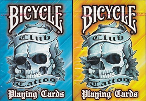 Club Tattoo Bicycle 2 Deck Set Playing Cards Poker Size USPCC Limited -