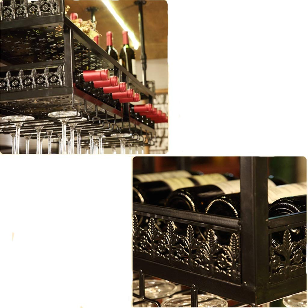 Wine Rack Wine Rack Soporte para Taza Doble Colgante Hierro Forjado Barbacoa de Bronce Negra Multi-Bar (Color : A, Tamaño : 180 * 31cm): Amazon.es: Hogar