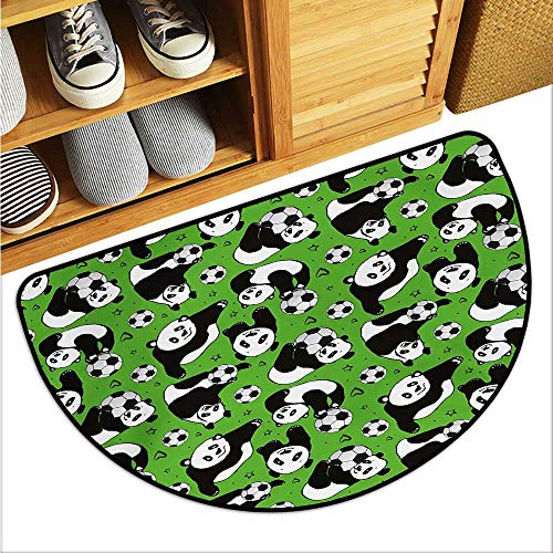 warmfamily Soccer Outdoor Door mat Funny Panda Animals Playing with Balls Hand Drawn Style Hearts and Stars Durable W23 x L15 Lime Green Black White ()