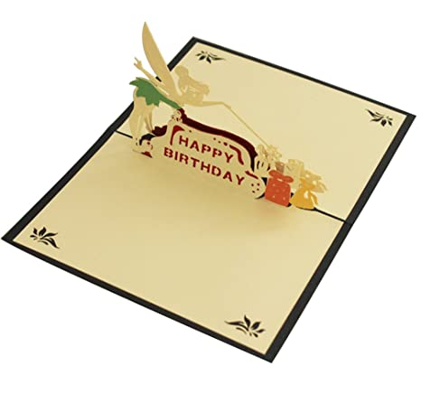 Amazon Com Fairy Happy Birthday Gift Pop Up Card Paper Craft For