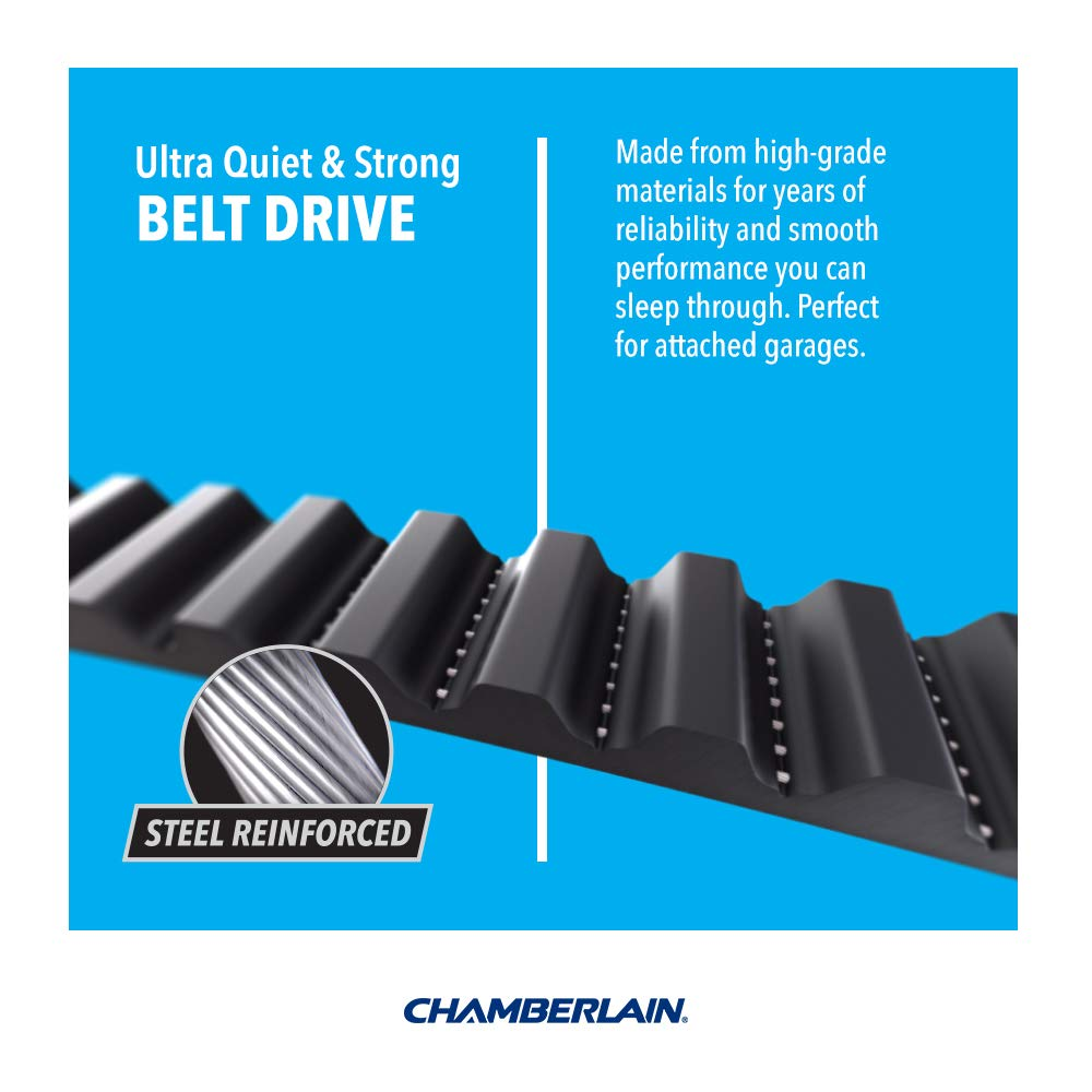 Blue 1.25 hp Chamberlain Group Chamberlain B1381 Bright LED Lighting Smartphone-Controlled Ultra-Quiet /& Strong Belt Drive Garage Door Opener with Battery Backup /& Max Lifting Power
