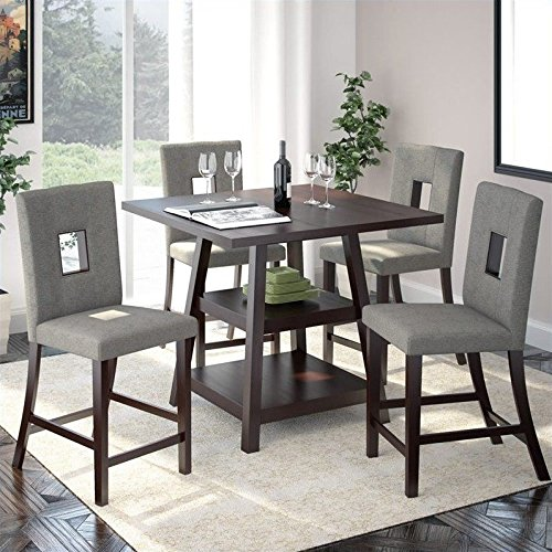 CorLiving Bistro 5 Piece Counter Height Dining Set - Rich Ca