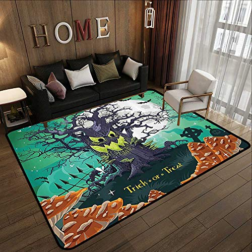 Outdoor Carpet,Halloween,Trick or Treat Halloween Theme Dead Forest with Spooky Tree Graves Big Mushrooms Kids Cartoon,Multi 78.7
