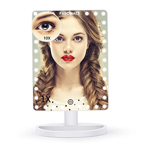 FASCINATE Extra Large Lighted Vanity Makeup Mirror, Light Up Makeup Mirror with 32 LED Lights and 10X Magnification, Touch Screen Dimmable 360 Rotation, Dual Power Supply Large Desk Mirror White