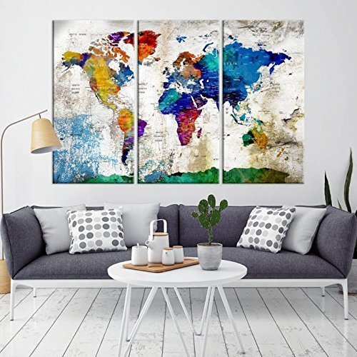 World Map Wall Art Canvas Print, Push Pin World Map for Livi