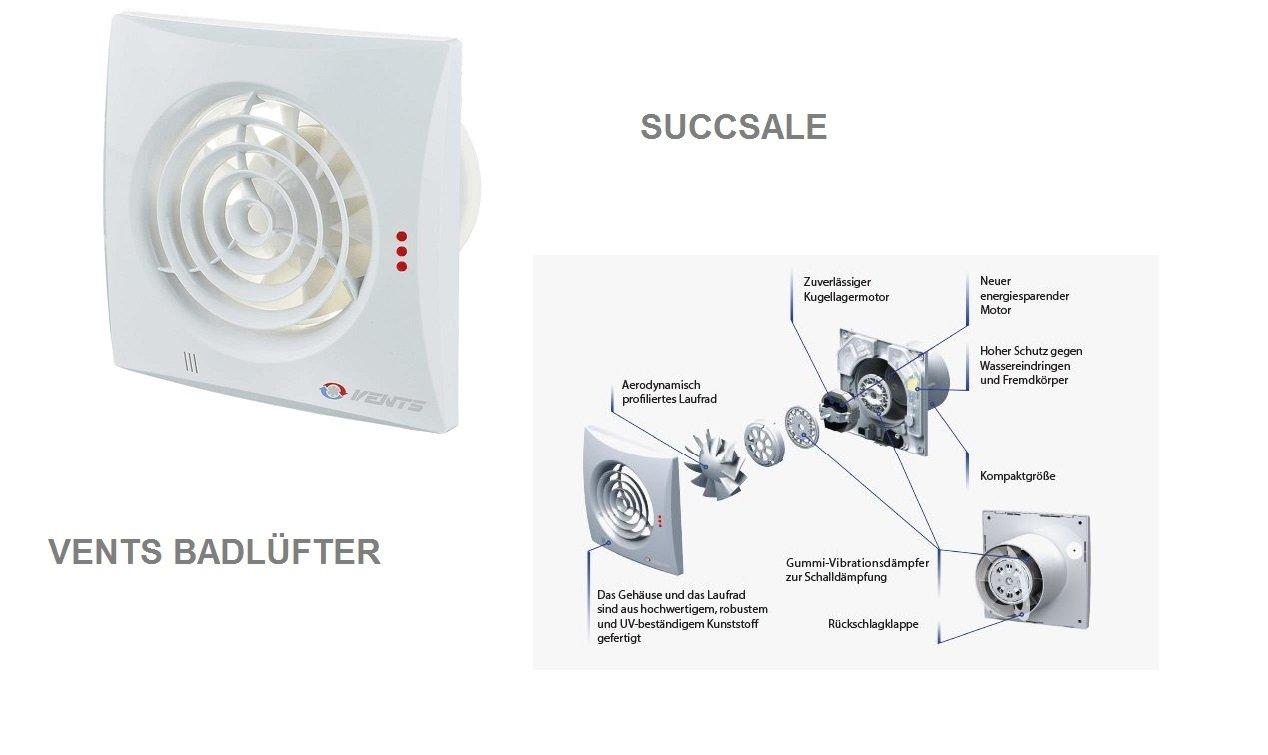 succsale de ventilador/baño Ventilador/Ventilador/ - Casa Ventilador de modelo: 125 Quiet Hydro/humedad Sensor/seguimiento/100 mm/muy silencioso/bajo ...
