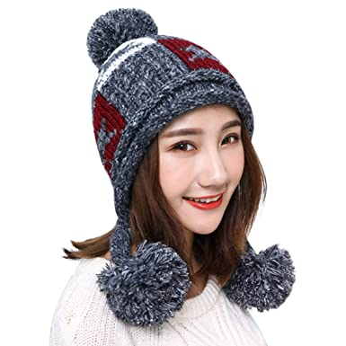 27064cc9606 HUAMULAN Women Winter Dual Layered Thick Beanie Hat Ski Ear Flaps Caps  Fleece - Grey -  Amazon.co.uk  Clothing