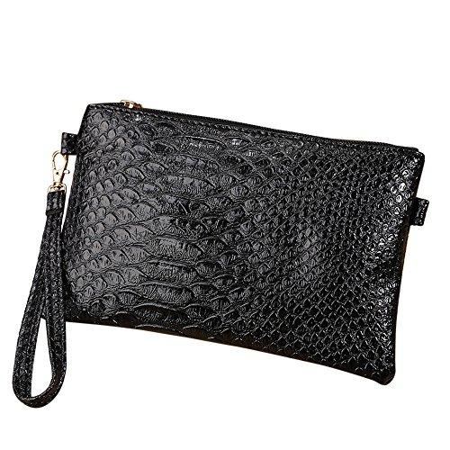 Pattern Tote Handbag Crocodile (Clearance! ZOMUSA Women Fashion Handbag Crocodile Pattern Shoulder Bag Small Tote Ladies Purse (Black~B))