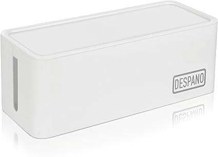 DESPANO caja para cables y regletas de enchufe, con cerradura, blanca / sistema organizador de cables / sistema