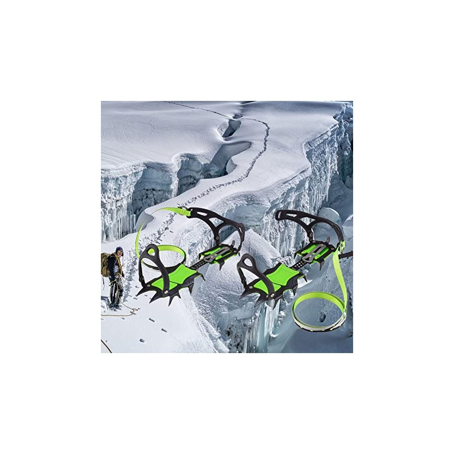 Alloet New BRS S1B Fourteen Teeth Bundled Crampons Professional Ice Gripper