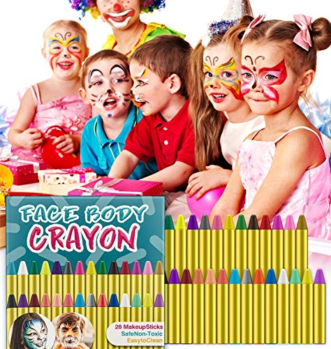 Face Theme Paint (SuMile 28 Colors Face Painting Crayons Face and Body Painting Crayons Party Makeup Sticks for Kids, Toddlers and Adults Easter Halloween Christmas Theme Party Cosplay)