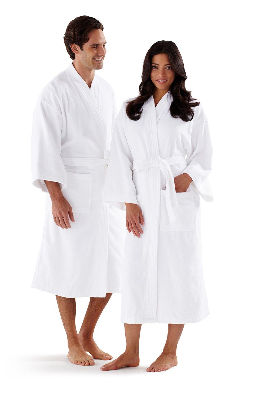 Boca Terry Kimono Bathrobe White - One Size Fits All