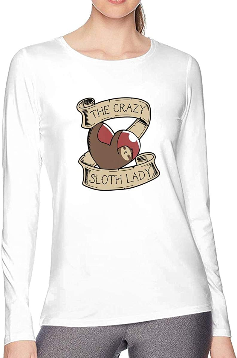 CXHKJ The Crazy Sloth Lady Womens T Shirts Long-Sleeve Cotton Womens Tees