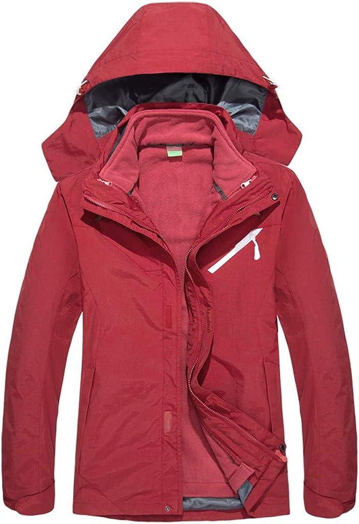 ZEELIY Damenjacke, Übergangsjacke Damen Regenjacke Funktionsjacke für Herbst Plus Samt Warm Windbreaker Atmungsaktiv Ultraleicht Großen Größen mit Kapuze Rot