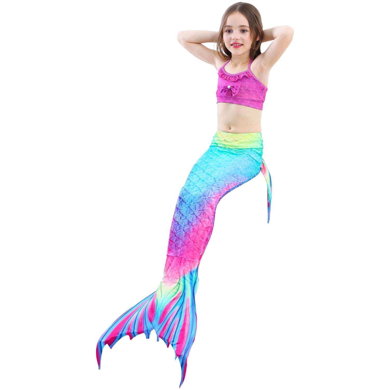 UrbanDesign Cola De Sirena con Monoaleta Disfraz Traje De Sirena con Aleta para Niña para Nadar