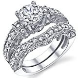 1.25 Carat Solid Sterling Silver Wedding Engagement Ring Set, Bridal Ring, with Cubic Zirconia CZ Size 10