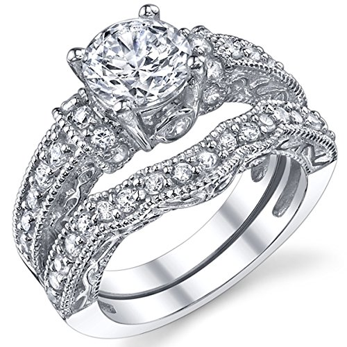 1.25 Carat Solid Sterling Silver Wedding Engagement Ring Set, Bridal Ring, with Cubic Zirconia Size 10