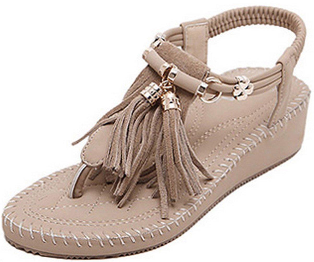 WAROFT Women's Adjustable Strap Fringe Heel Wedge Sandal Flip Flop Summer Beach Shoes B07CTL65HZ 5 B(M) US|Beige