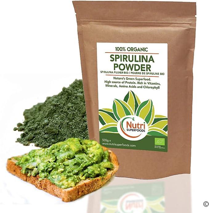 Espirulina en polvo - Proteína vegetal vegana orgánica - Alta en clorofila para desintoxicación y más energía - 500g
