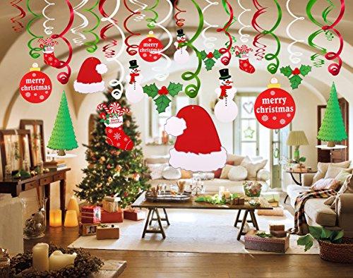 Howaf 30 Piezas Navidad Colgar Decoraciones de Remolino Adornos de espirales Guirnalda para Navidad de Fiesta Decoraciones hogar Techo, Feliz Navidad Santa ...