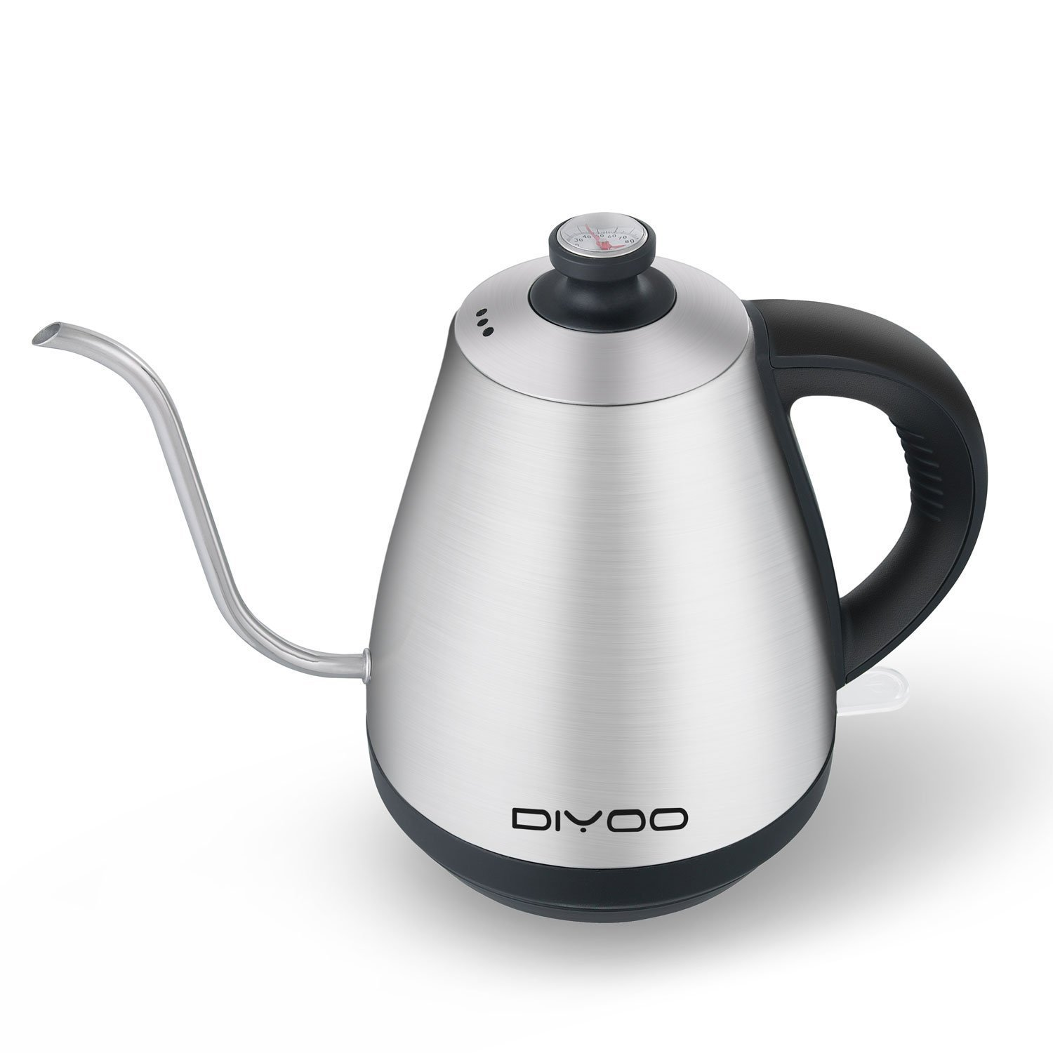 Electric Tea Kettle, Gooseneck Kettle Stainless Steel Cordless with Thermometer, Auto Shut-Off, Boil-Dry Protection for Tea, Coffee and Hot Water, Plastic Free, 1.0 Liter/0.92Quart