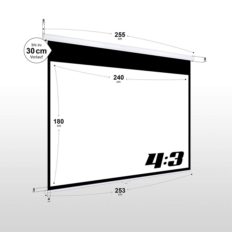 240 x 180 cm eSmart Basics Rollo-Leinwand Gr/ö/ßenauswahl Heimkino Beamer Projektionsleinwand Rollo Leinwand LCD LED Vollmaskierung Format 4:3
