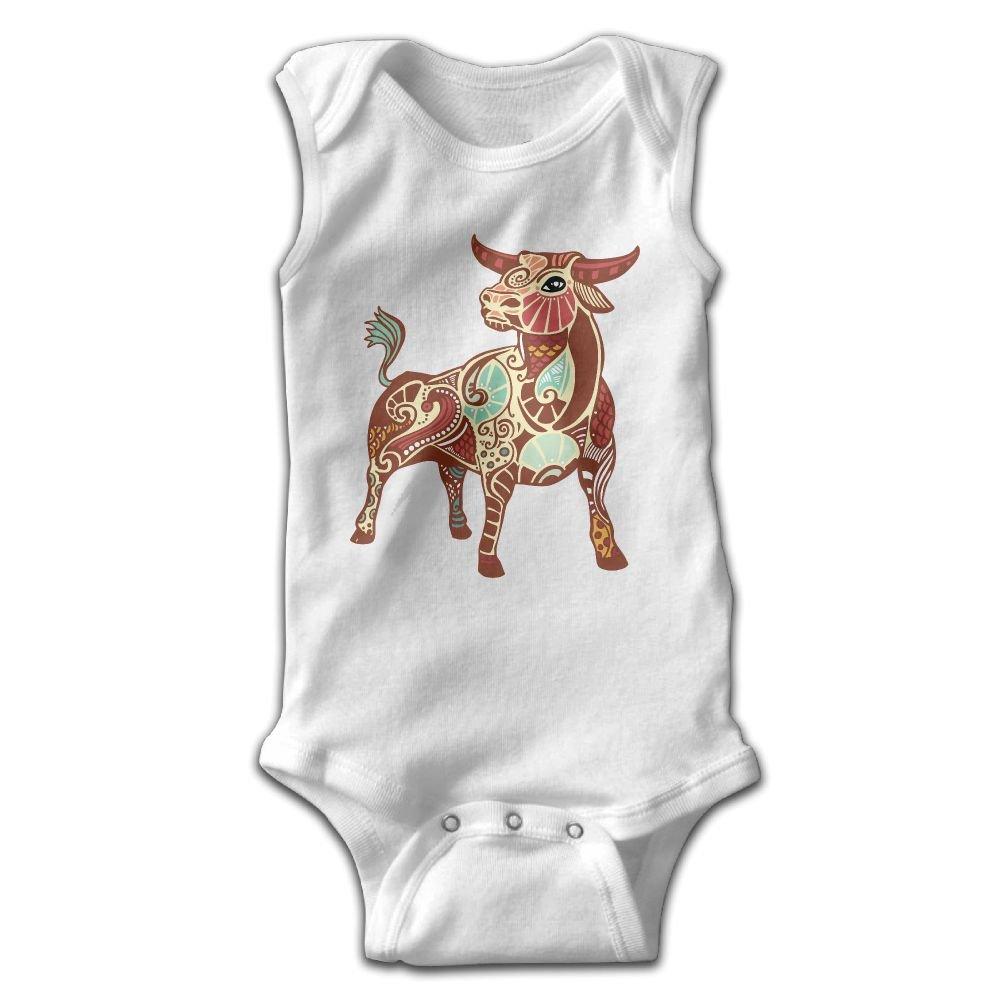 Infant Baby Girls Rompers Sleeveless Cotton Onesie,Taurus Zodiac Bodysuit Spring Pajamas