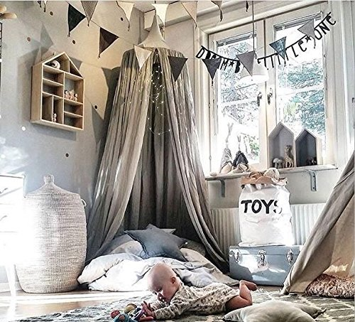 Children Bed Canopy Round Dome, Cotton Mosquito Net, Kids Princess Play Tents, Room Decoration for Baby Indoor Outdoor Playing (Gray) by Fangsi (Image #6)