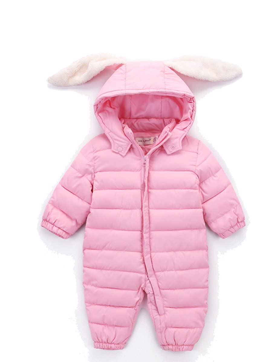 Kisbaby Cute Newborn Baby Padded Snowsuit Bunny Hood 0-9 Months Pink)