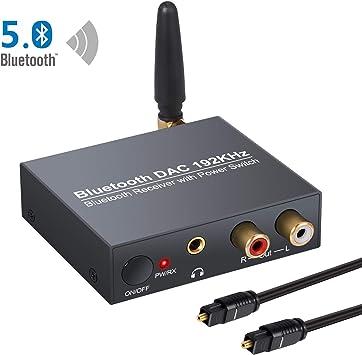 CAMWAY Convertidor de Audio Digital a Analógico DAC con Bluetooth 5.0 Receptor Toslink Coaxial Digital a Estéreo Analógico L/R RCA Adaptador de Audio de 3.5 mm Soporte Encendido o Apagado: Amazon.es: Electrónica