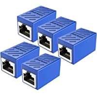 PLUSPOE RJ45 Coupler, 5-Pack Inline Network Connectors Cat7 Cat6 Cat5e Cat5 Ethernet Cable - Networks Coupler Adapter Female to Female (Blue)