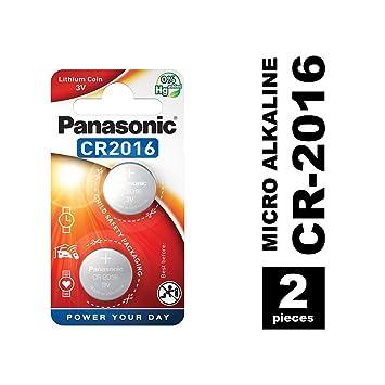 Panasonic CR2016 Pila botón de litio no-recargable, 3V, 90 mAh, Paquete de 2 unidades