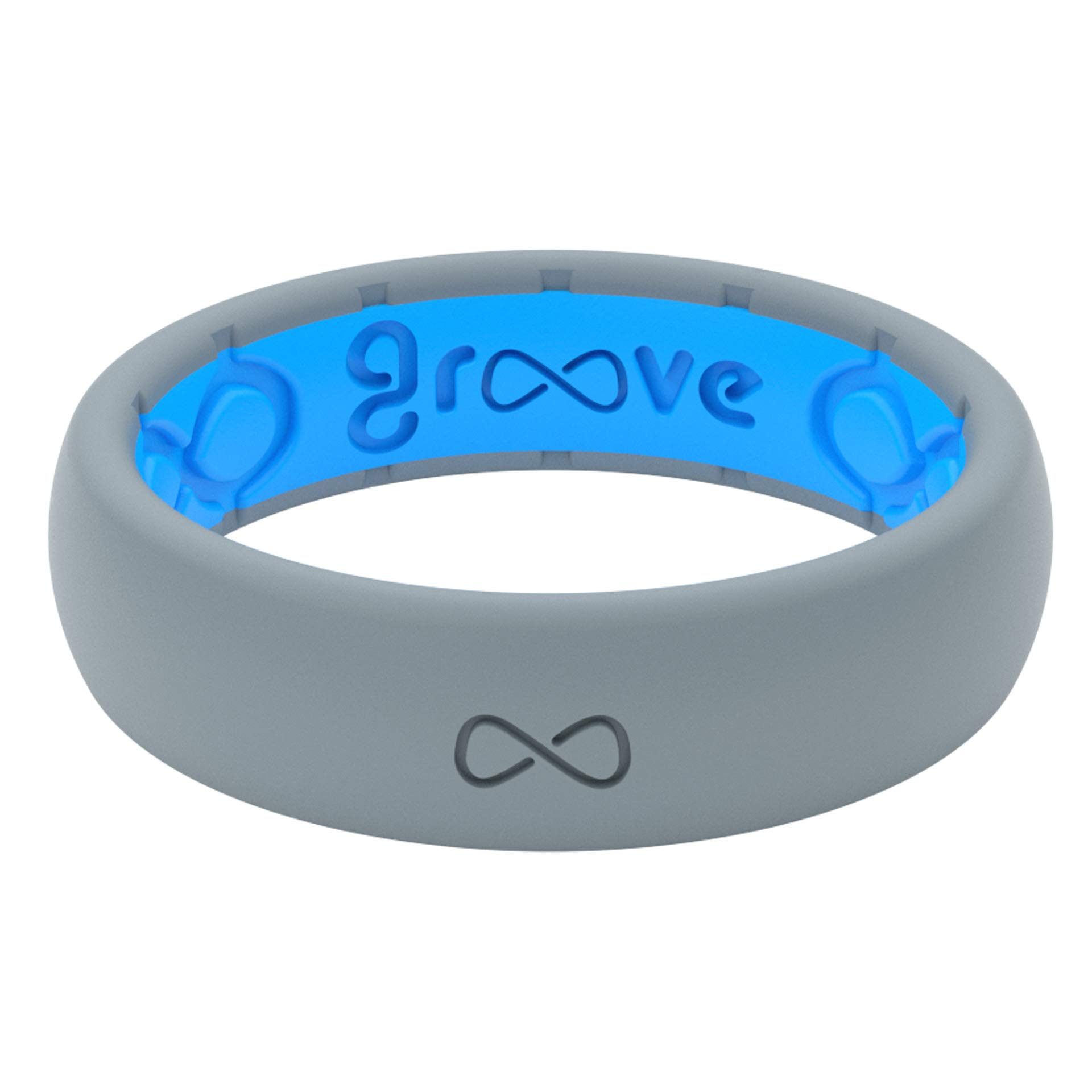 Groove Life - Silicone Ring for Men and for Women Wedding or Engagement Functional Rubber Band with, Breathable Grooves, Comfort Fit, and Durability - Thin Solid Storm Grey Size 4