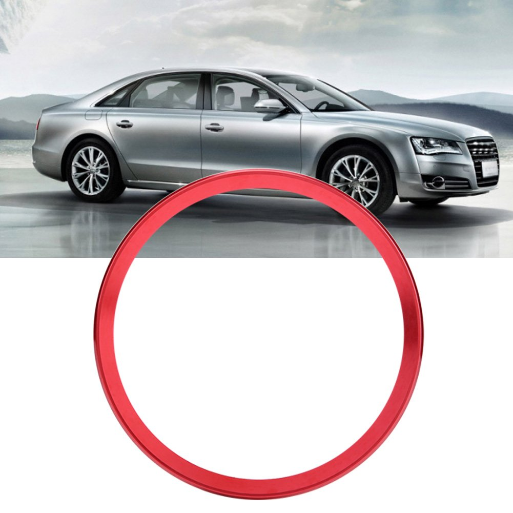 Red Car Steering Wheel Centre Ring Steering Wheel Cover Trim Aluminium Chromium alloy Decoration Frame Trim for A1 A3 A4 A5 A6 Q3 Q5