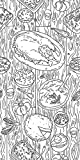 Canvas On Demand Circle Kids Removable Wallpaper Tile for Coloring, 24'' x 48'', entitled 'Thanksgiving Dinner'