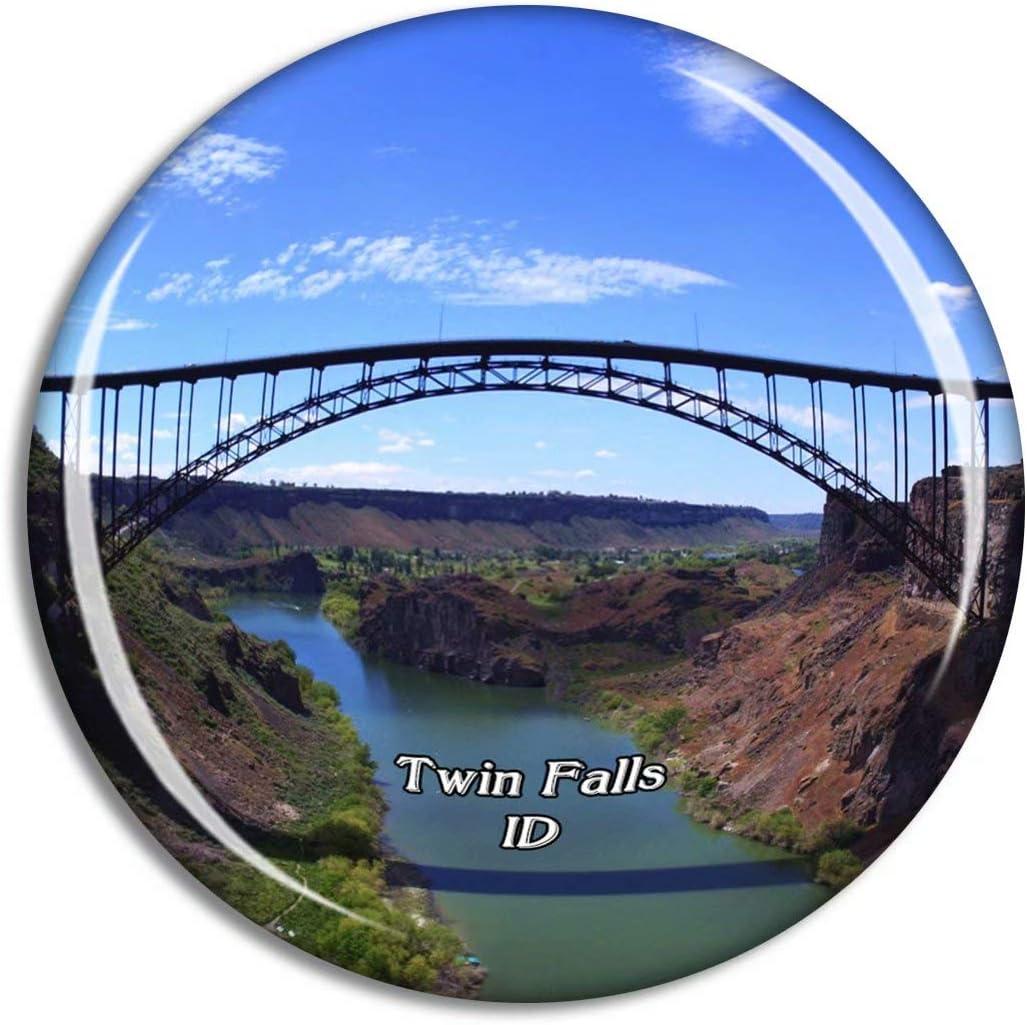 Twin Falls Perrine Bridge Idaho USA Magnet Travel Souvenir 3D Crystal Glass Collection Gift Refrigerator Sticker