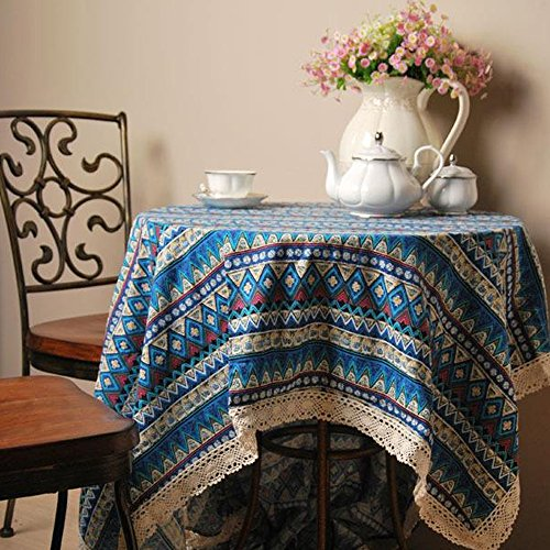 yazi Boho Lace Christmas and Thanksgiving Tablecloth Cotton Linen Birthday Party Table Cover Square, 35x35 - Table French Provincial Coffee