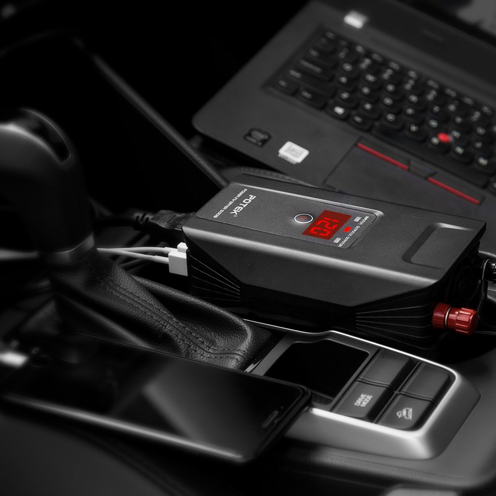 POTEK 500W Power Inverter DC 12V to 110V AC Car Converter with Digital Display Dual AC Outlets and Dual USB Charging Ports for Tablets, Laptop and Smartphones by POTEK (Image #6)