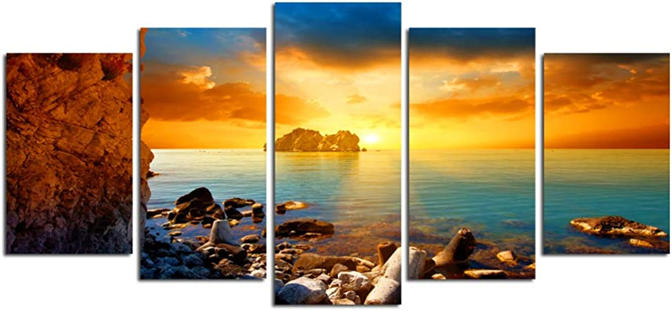 Amazon Com Nachic Wall 5 Pieces Canvas Wall Art Beautiful Sunrise On Sea Ocean Pictures Poster Prints Beach Seascape Painting For Home Office Living Room Bedroom Decor Framed Ready To Hang Posters