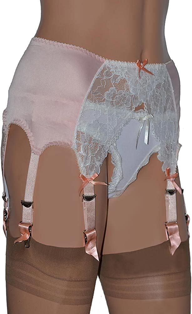 Swanky Pins 8 Strap Retro Style Suspender Belt in Peach Satin and Ivory Lace
