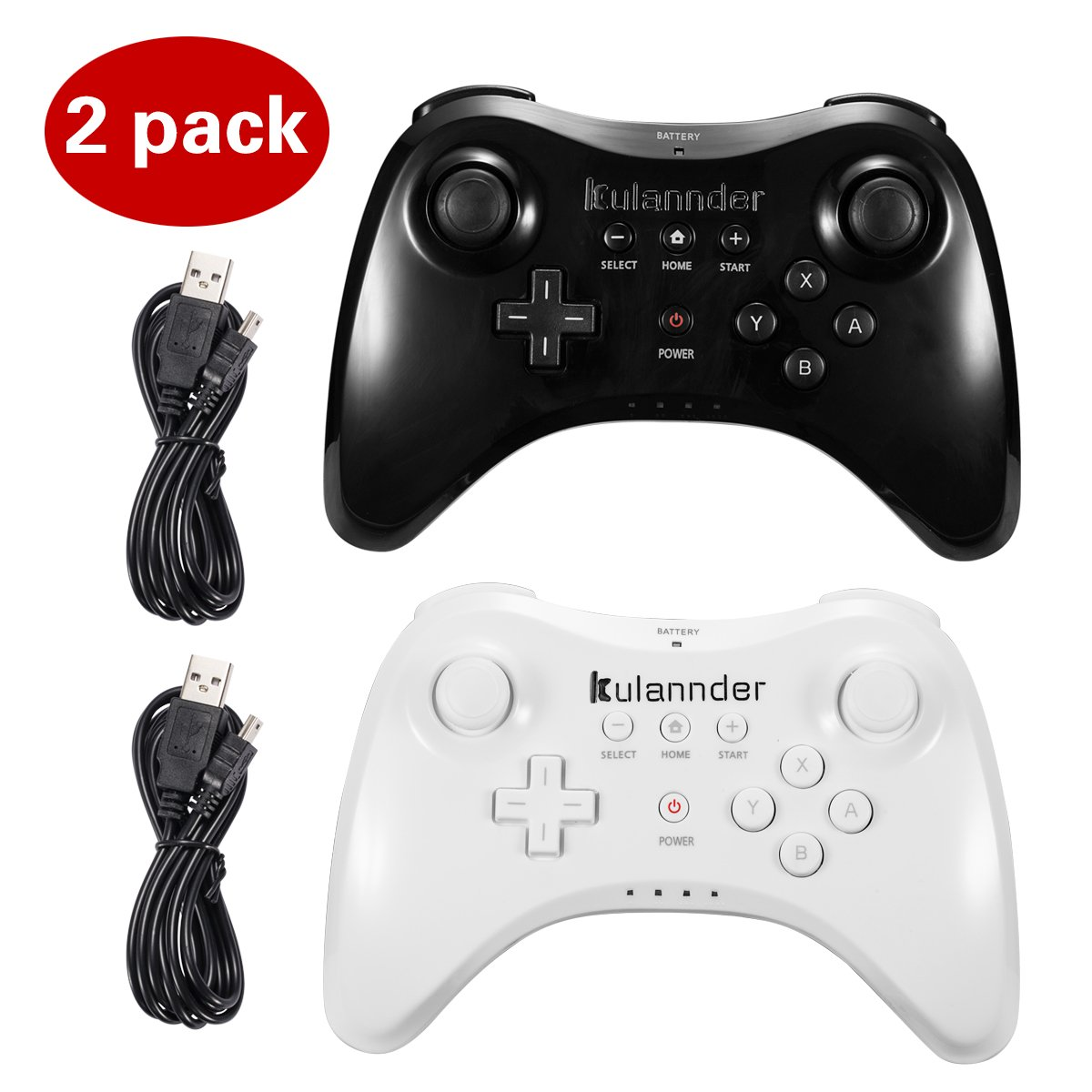 Wii U Pro Controller- Kulannder Wireless Rechargeable Bluetooth Dual Analog Controller Gamepad for Nintendo Wii U with USB Charging Cable (Black+White)2Pack,Perfect Gift for Kids