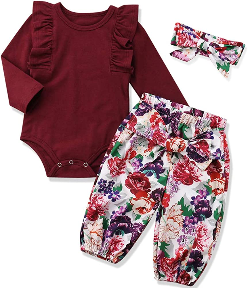 Floral Headband 3pcs Outfit Newborn Baby Girls Clothes Floral Romper Floral Long Pant