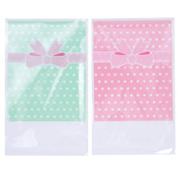100 X Polka Dot Self Adhesive Cookie Candy Gift Bags Wrapper Cellophane Birthday