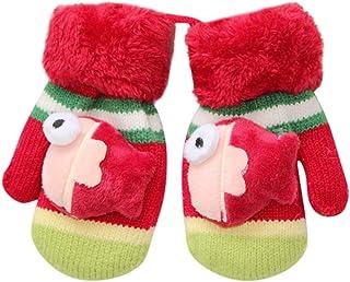 HEETEY Toddler Baby Gloves, Girls Boys Winter Thicken Rope Full Finger Warm Knitted Mittens Gloves Christmas Birthday Gift for 0-3 Years Unisex Infant Baby