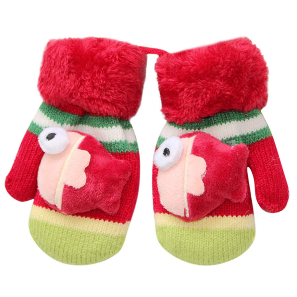 Cinnamou Baby Gloves, 1Pair Toddler Kids Girls Boys Winter Cartoon Fish Pattern Warm Thicken Stretch Gloves Full Finger Knitted Mittens For 0-3 Years Baby