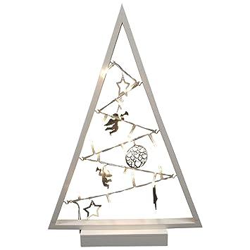 Weihnachtsdeko Baum Holz.Degamo Weihnachtsdeko Baum Holz 27x40 5cm Farbe Weiss 15 Led